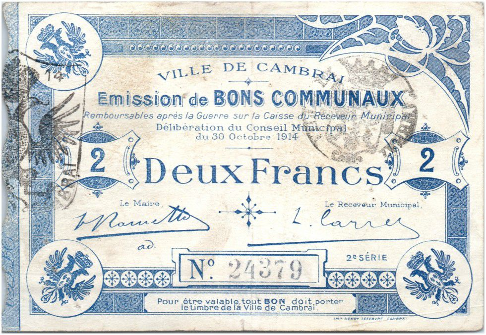 France 2 Francs Cambrai Commune - 1914