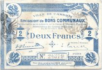 France 2 Francs Cambrai Commune - 1914