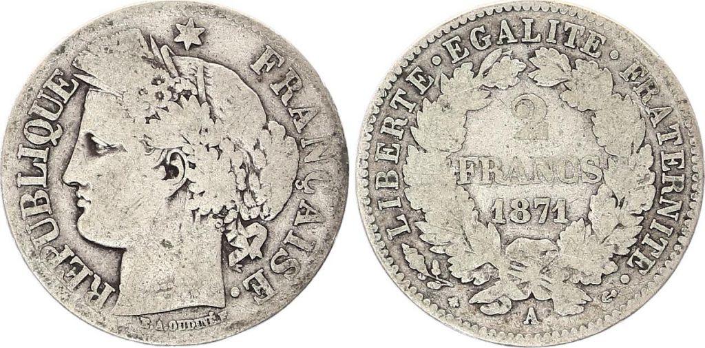 France 2 Francs Cérès - 1871 A Paris Grand A - Argent