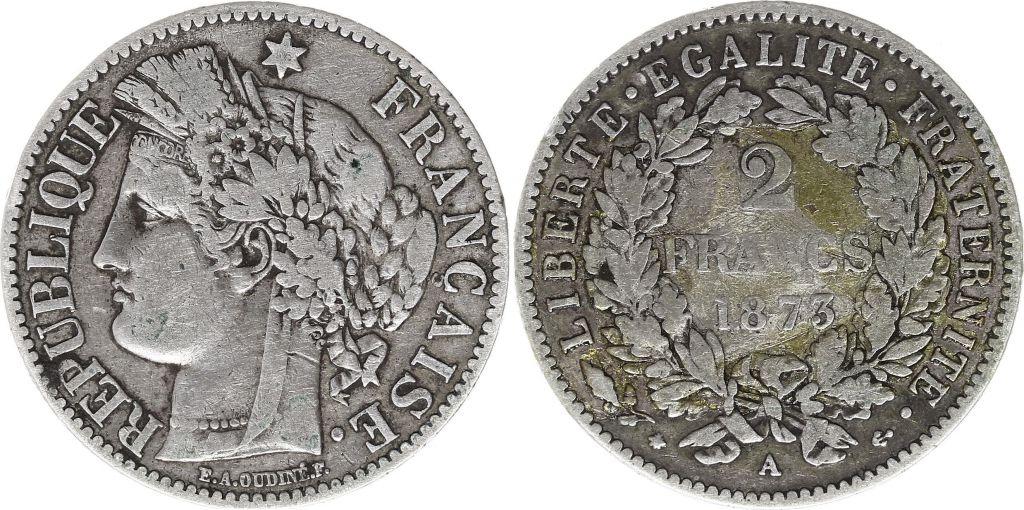 France 2 Francs Cérès - 1873 A Paris Argent