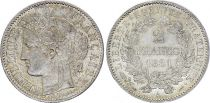 France 2 Francs Ceres - 1881 A Paris Silver - XF to AU - KM.817