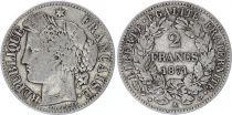 France 2 Francs Ceres - Gouvernement National - 1871 A Paris petit A