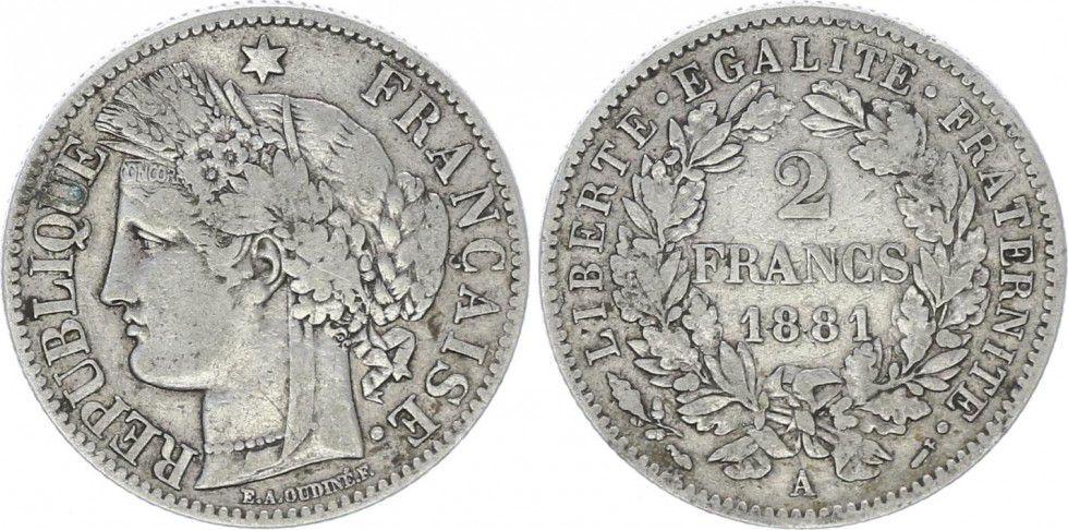 France 2 Francs Cérès - III ème République - 1881 A Paris