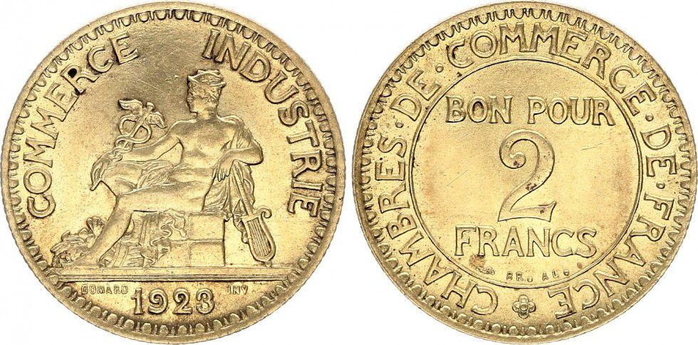 Pi ce france 2 francs chambre de commerce 1923 - Chambre de commerce france ...