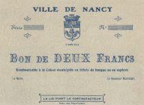 France 2 Francs City of Nancy - 02-08-1914 - XF to AU - WWI