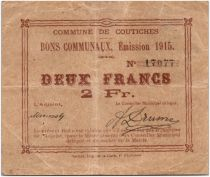 France 2 Francs Coutiches City - 1915