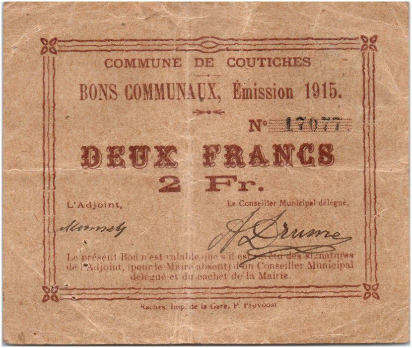France 2 Francs Coutiches Commune - 1915