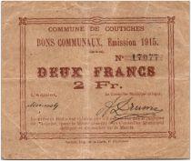France 2 Francs Coutiches Commune - 1915