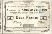 France 2 Francs Crevecoeur-Sur-L´escaut Commune - 1915