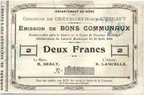 France 2 Francs Crevecoeur-Sur-L´escaut Commune - 1915