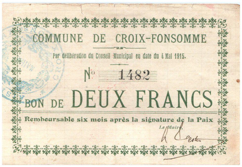 France 2 Francs Croix-Fonsomme City - 1915