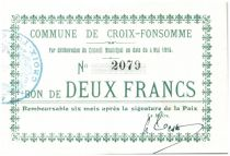 France 2 Francs Croix-Fonsomme Commune - 1915
