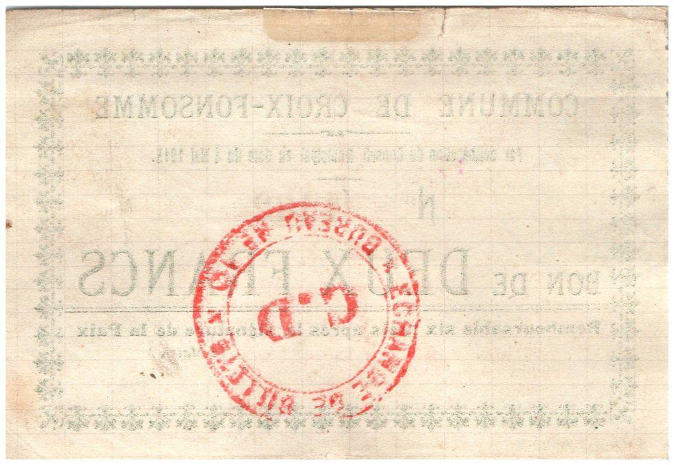 France 2 Francs Croix-Fonsomme Commune - 1915