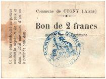 France 2 Francs Cugny Commune - 1914