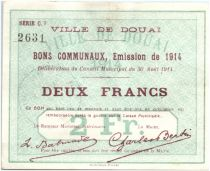 France 2 Francs Douai Commune - 1914