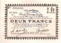 France 2 Francs Douai Commune - 1914