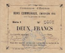 France 2 Francs Estrée Commune - 1914