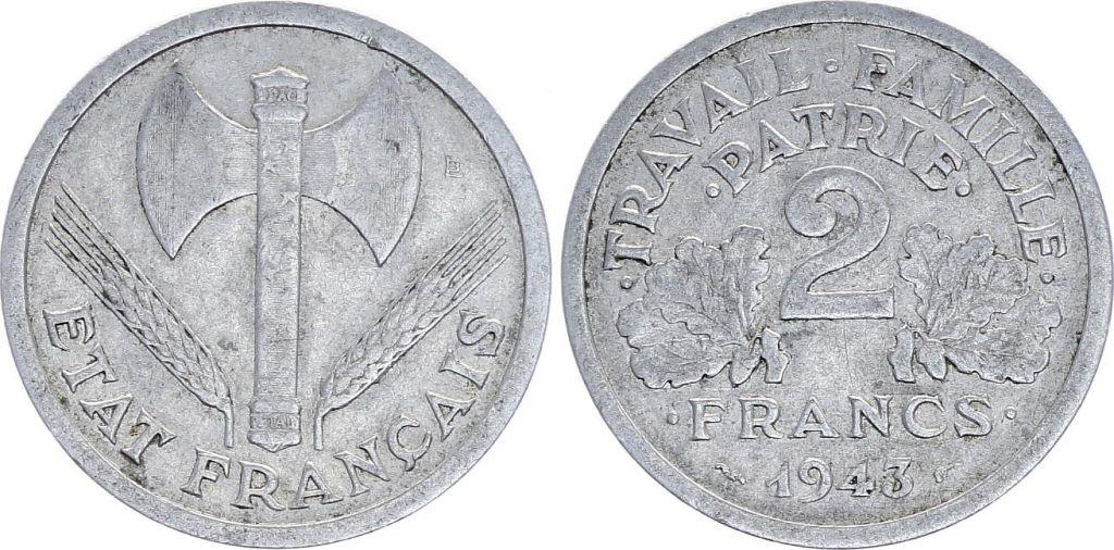 France 2 Francs Etat Francais Francisque- 1943 - TB à TTB