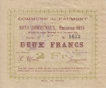 France 2 Francs Faumont Commune - 1915