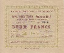France 2 Francs Faumont Commune - 1915