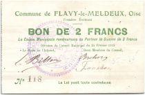 France 2 Francs Flavy-Le-Meldeux City