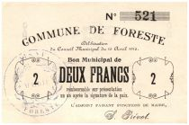 France 2 Francs Foreste City - 1915
