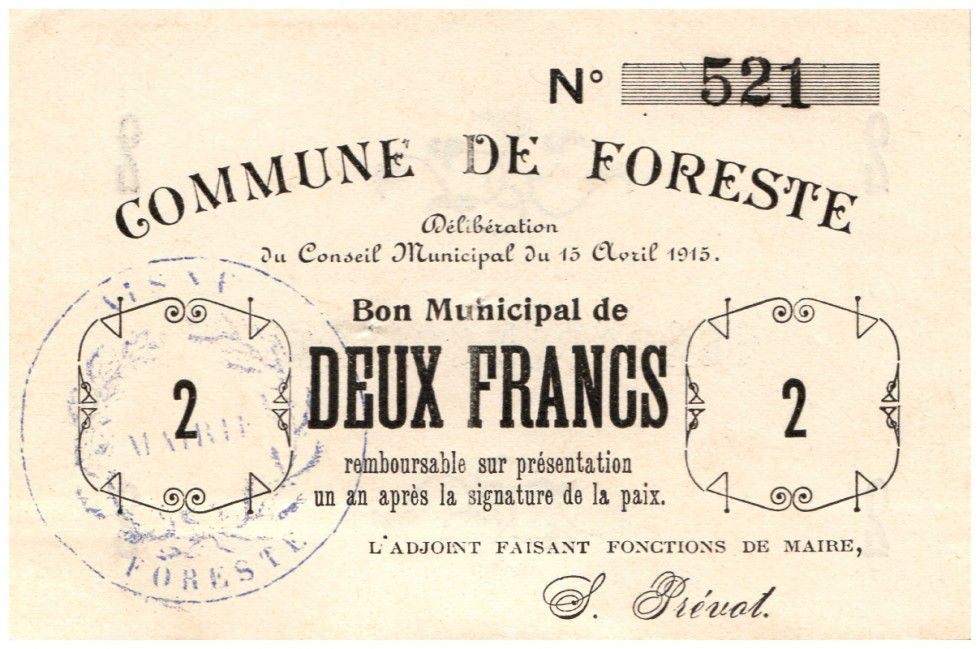 France 2 Francs Foreste Commune - 1915