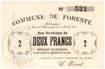 France 2 Francs Foreste Commune - 1915