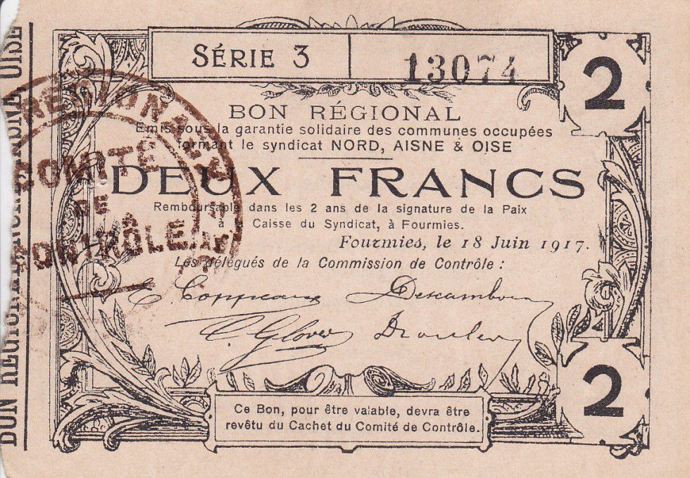 France 2 Francs Fourmies City - 1917