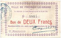 France 2 Francs Fresnoy-Le-Grand City - 1915