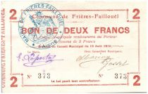 France 2 Francs Frieres-Faillouel Commune - 1915