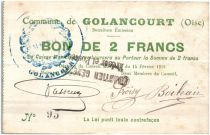 France 2 Francs Golancourt Commune - 1915