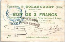 France 2 Francs Golancourt Commune - 1915