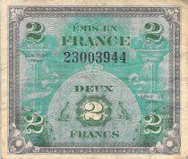 France 2 Francs Impr. américaine (drapeau) - 1944 Sans Série - TB+