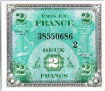 France 2 Francs Impr. américaine (drapeau) - 1944 Série 2