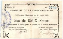France 2 Francs La Ferte-Chevresis Commune - 1915