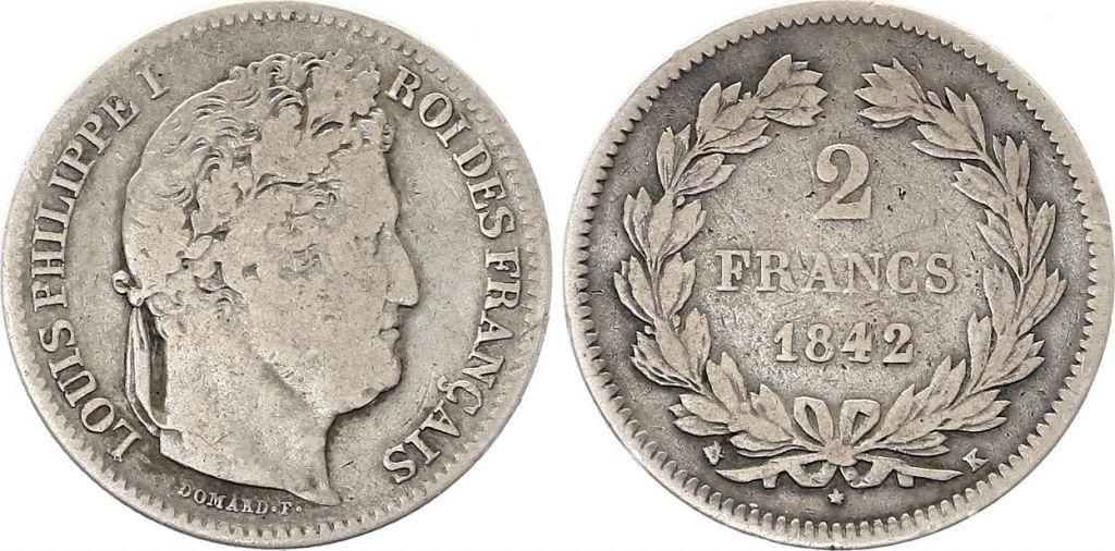 France 2 Francs Louis-Philippe 1er - 1842 K Bordeaux