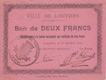 France 2 Francs Louviers City - 1915