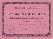 France 2 Francs Louviers Commune - 1915