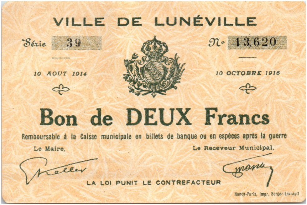 France 2 Francs Lunéville City - 1914
