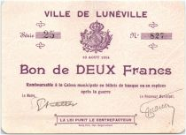 France 2 Francs Lunéville City