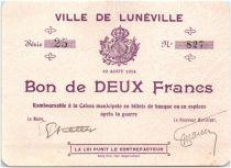 France 2 Francs Lunéville Ville