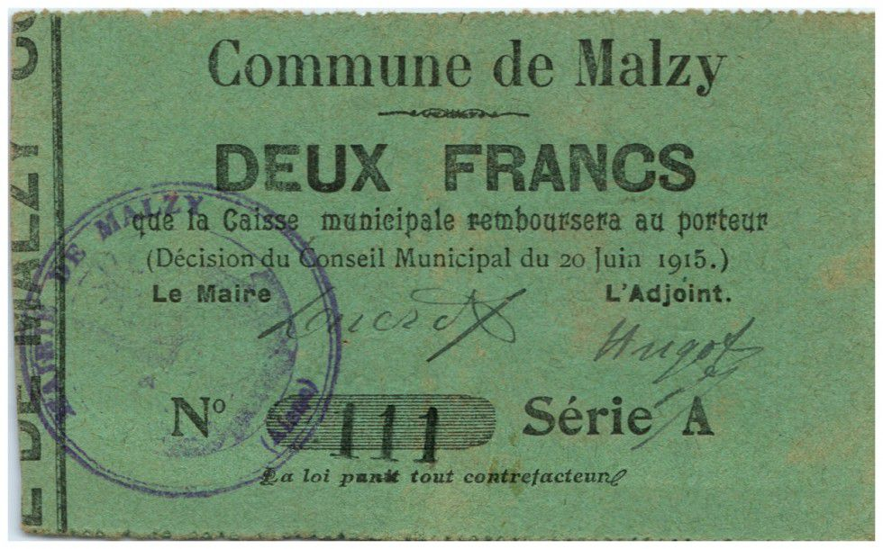 France 2 Francs Malzy Commune - 1915