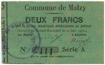 France 2 Francs Malzy Commune - 1915