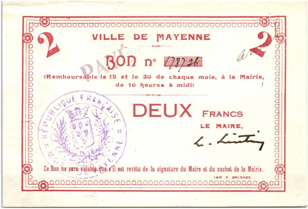 France 2 Francs Mayenne Ville