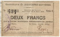 France 2 Francs Monceau-Sur-Oise Commune - 1915