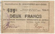 France 2 Francs Monceau-Sur-Oise Commune - 1915