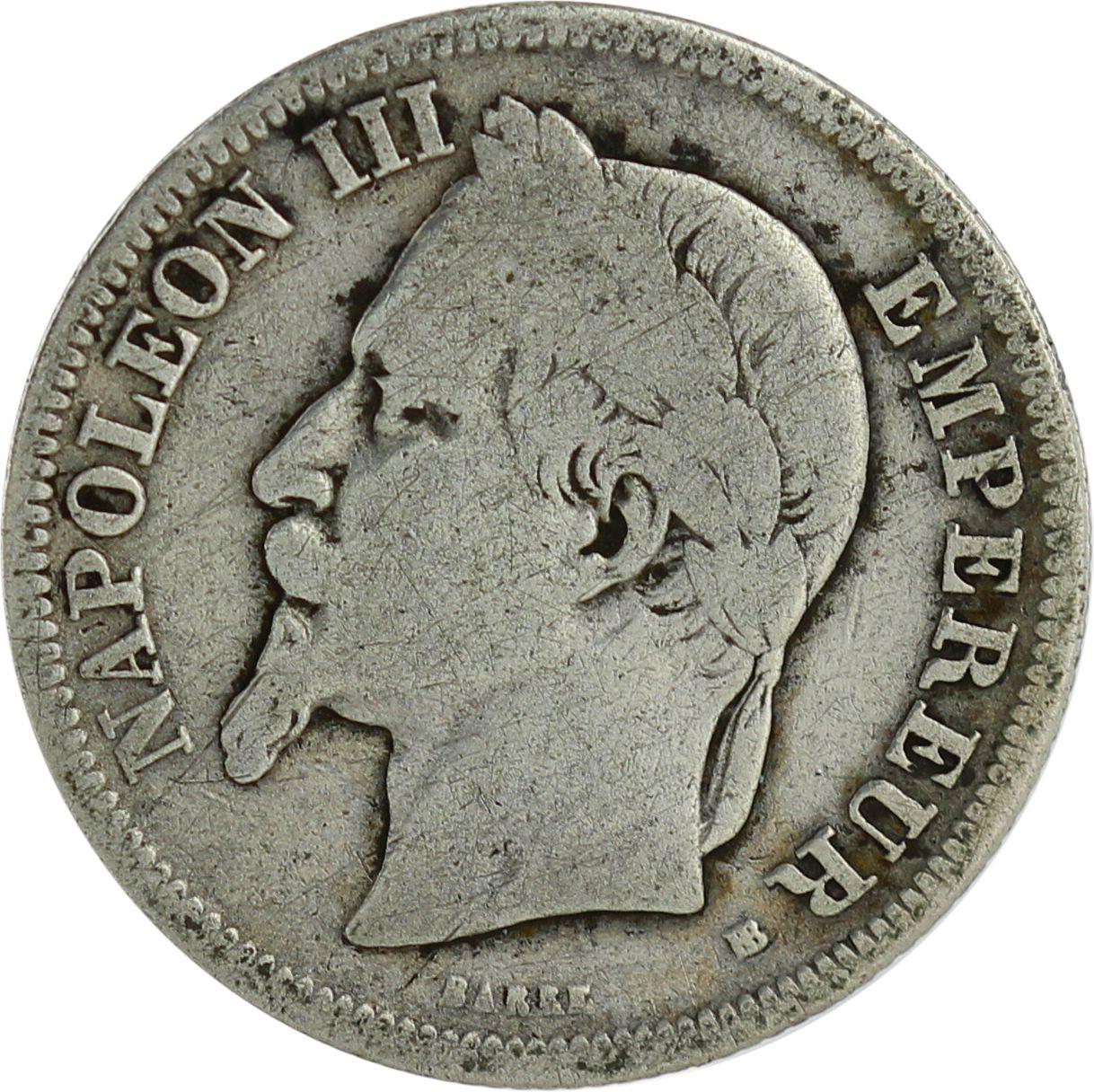 France 2 Francs Napoléon III - Arms 1866-1870