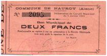 France 2 Francs Nauroy City - 1915