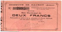 France 2 Francs Nauroy Commune - 1915